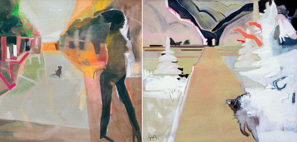 Teresa Pągowska, Aleja - Jesień, tempera, akryl, płótno, 140 x 160 cm oraz Zima, tempera, akryl, płótno, 140 x 160 cm