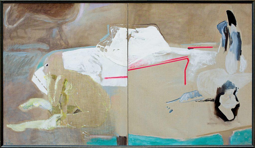 Teresa Pągowska, Aleja - Jesień, tempera, akryl, płótno, 140 x 160 cm (praca dostępna będzie na nadchodzącej Aukcji Sztuki Współczesnej, 15.10. o godzinie 20:30) oraz Zima, tempera, akryl, płótno, 140 x 160 cm